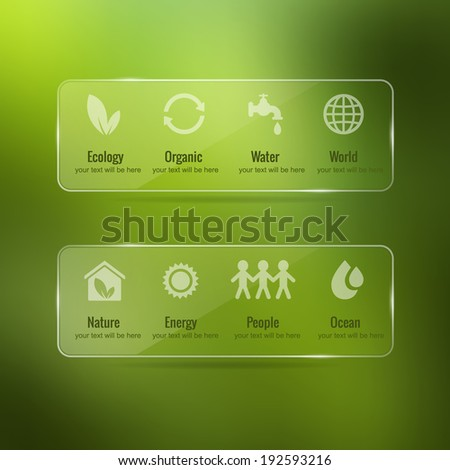 Vector ecology icon set with glass frame on blurred nature background - stock vector