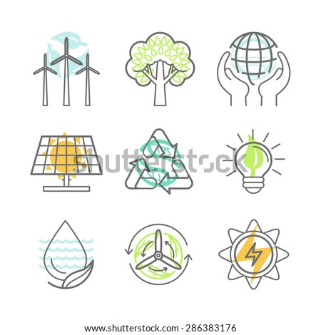Vector ecology icons - alternative renewable energy, ecology protection and recycling - nature conservation concepts in trendy linear style - design elements for illustrations and infographics - stock vector
