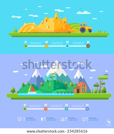 vector ecology illustration infographic elements flat design. Eco life - stock vector