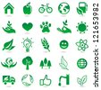 Vector ecology signs and icons - eco friendly design elements - stock vector