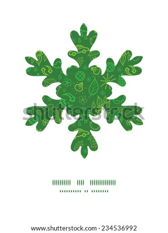 Vector ecology symbols Christmas snowflake silhouette pattern frame card template - stock vector
