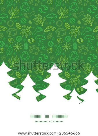 Vector ecology symbols Christmas tree silhouette pattern frame card template - stock vector