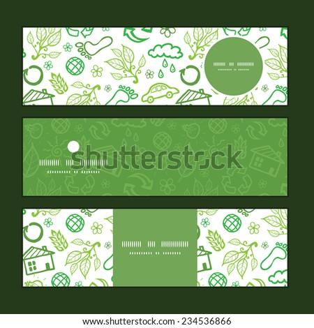 Vector ecology symbols horizontal banners set pattern background - stock vector