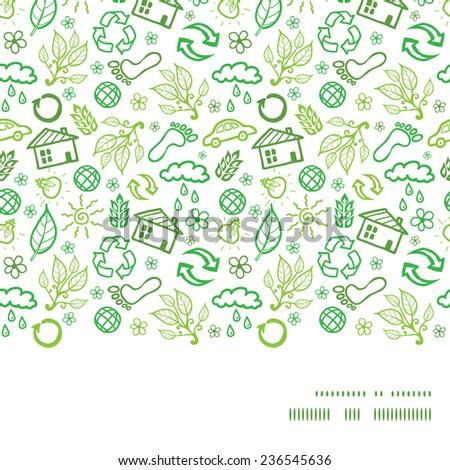 Vector ecology symbols horizontal frame seamless pattern background - stock vector