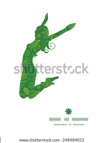 Vector ecology symbols jumping girl silhouette pattern frame - stock vector