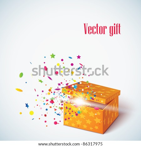 Vector editable illustration of magic gift box - stock vector