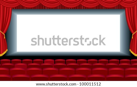 vector editable illustration of the empty cinema with free bottom layer for your image - stock vector