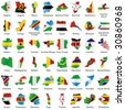 vector editable isolated african flags in map shape with details - stock vector
