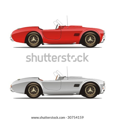 vector editable isolated convertible cars with details - stock vector