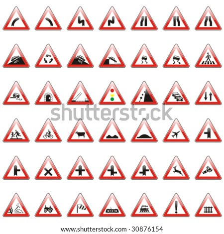 vector editable isolated european road signs with details - stock vector