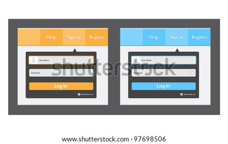 Vector editable log in (registrate) form in two color - stock vector
