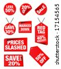 Vector editable price tags in red isolated on a white background - stock vector