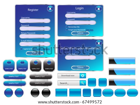 Vector editable website buttons. Blue version. - stock vector