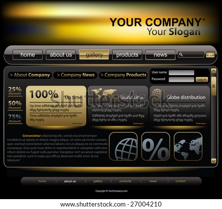 Vector editable website template - stock vector