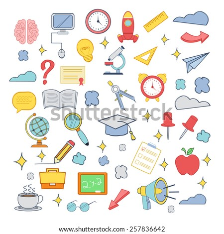 Vector education colorful icon set - stock vector