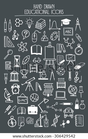 Vector educational icon set. Hand drawn educational and school icons. Beautiful design elements. - stock vector