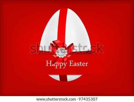 vector egg decorated with red ribbons and bow, dedicated to Happy Easter Day - stock vector