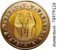 vector Egyptian coin featuring Pharaoh - stock photo