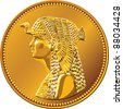 vector Egyptian money, gold coin of fifty piastres, featuring queen Cleopatra - stock photo