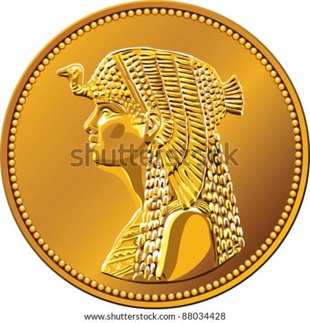 vector Egyptian money, gold coin of fifty piastres, featuring queen Cleopatra - stock vector