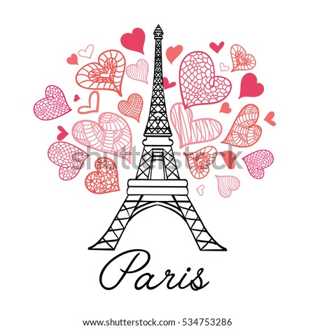 Vector Eifel Tower Paris Bursting With St Valentines Day Pink Red Hearts Of Love. Perfect for travel themed postcards, greeting cards, wedding invitations.