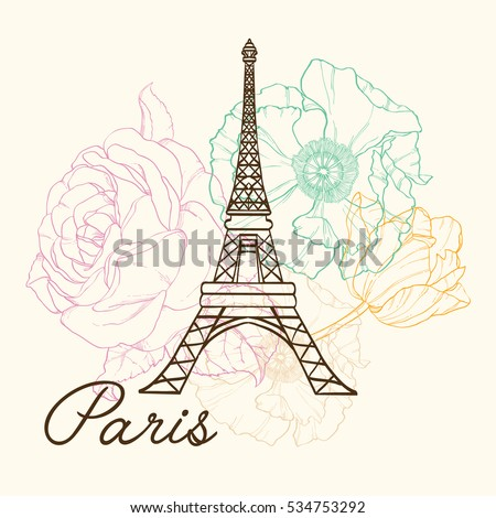 Vector Eifel Tower Paris In Vintage Style With Beautiful, Romantic Pastel Flowers. Perfect for travel themed postcards, greeting cards, wedding invitations.