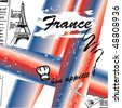 vector Eiffel Tower and France old poster - stock photo