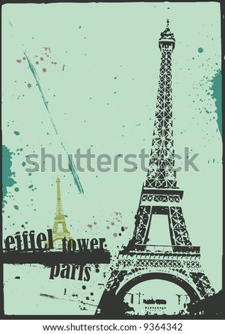 vector eiffel tower in grunge style - stock vector