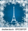 Vector Eiffel Tower with snowflakes on blue knitted background - stock vector
