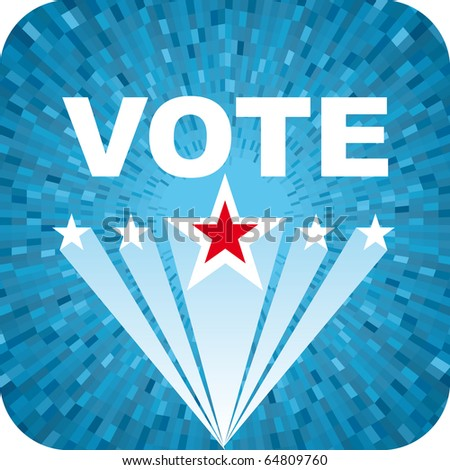 Vector Election blue background with vote text and stars - stock vector