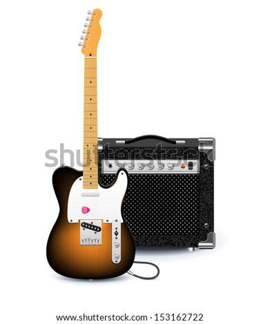 Vector electric guitar and amplifier - stock vector