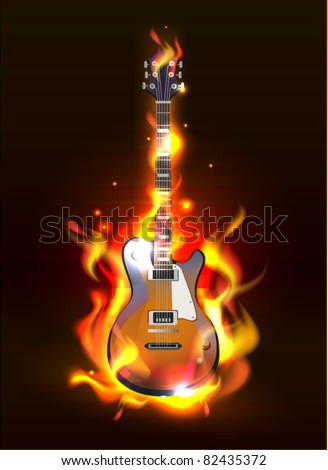 Vector Electric Guitar in fire Isolated on Black Background, eps 10 - stock vector