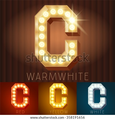 Vector electric light up lamp alphabet in hard font. Letter C - stock vector