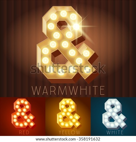 Vector electric light up lamp alphabet in hard font. Symbol 2 - stock vector