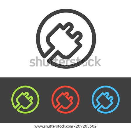 Vector electric plug icon set, line and flat design - stock vector