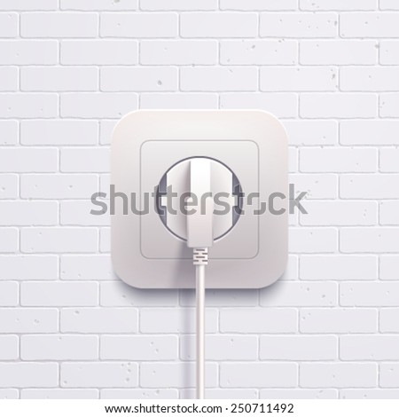 Vector electric white socket plug on the brick wall. - stock vector