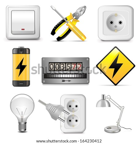 Vector Electrical Icons - stock vector