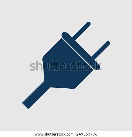 Vector electrical plug web flat icon. - stock vector