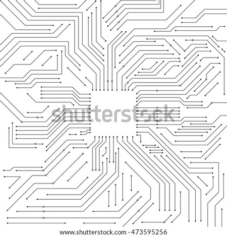 Vector : Electronic circuit and empty square space on white background