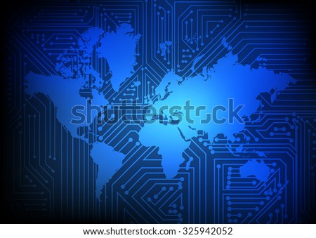 Vector : Electronic circuit on world map on blue background - stock vector