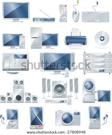 Vector electronic equipment icon set - stock vector