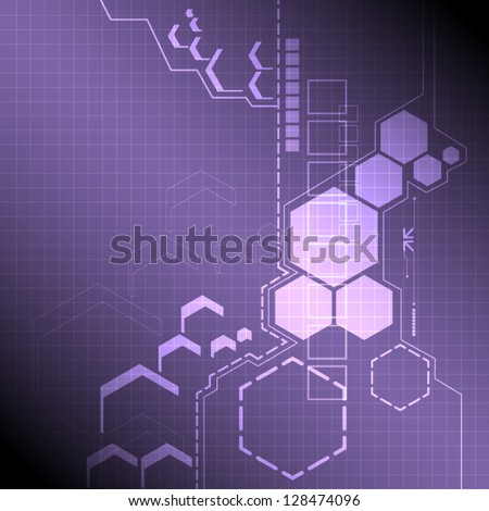 vector electronic interface technology, abstract background - stock vector