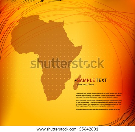 vector elegant abstract background with Africa map silhouette - stock vector