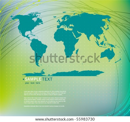 vector elegant abstract background with World map silhouette - stock vector