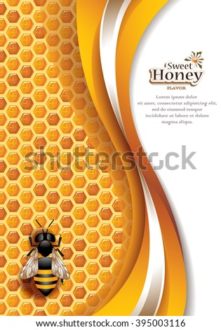 Vector Elegant Abstract Honey Background with Honeycomb, Working Bee and Space for Text - stock vector