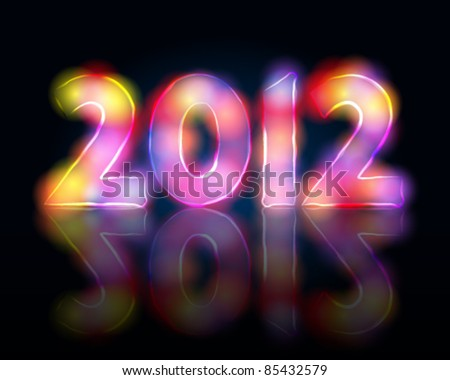 Vector elegant, abstract New Year's illustration made of light - stock vector