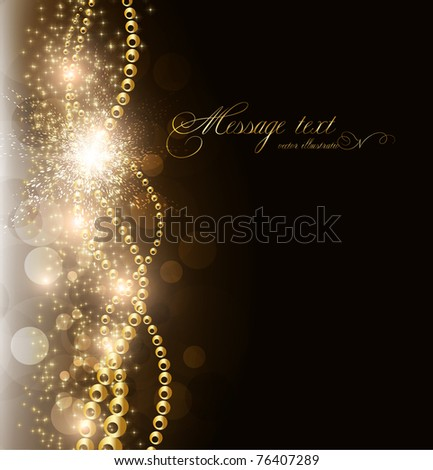 vector elegant background with place for text invitation. golden elements, stars and sparks. eps 10.