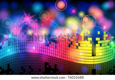 Vector elegant blurry, glowing, glittering colorful music background - stock vector