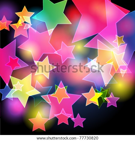 Vector elegant blurry, glowing, glittering colorful stars - music background - stock vector