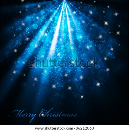 Vector elegant christmas background with snow and stars (eps10) - stock vector